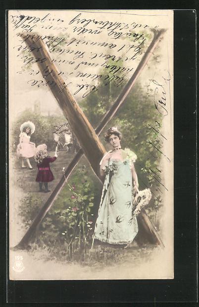 AK Junge Frau in schönem Kleid neben dem Buchstaben