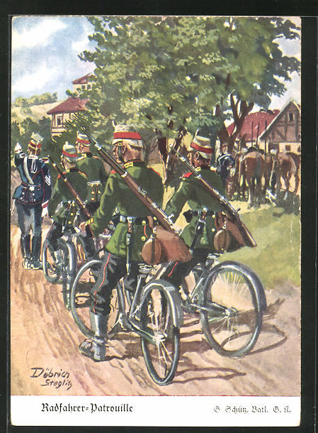 Künstler-AK Döbrich-Steglitz: Radfahrer-Patrouille