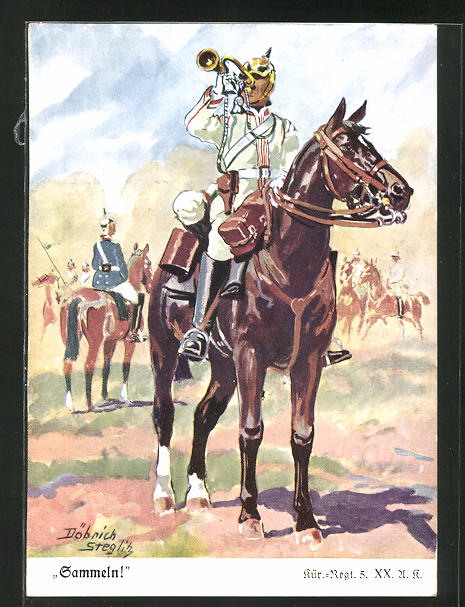 Künstler-AK Döbrich-Steglitz: Soldat in Uniform mit Trompete auf seinem Pferd