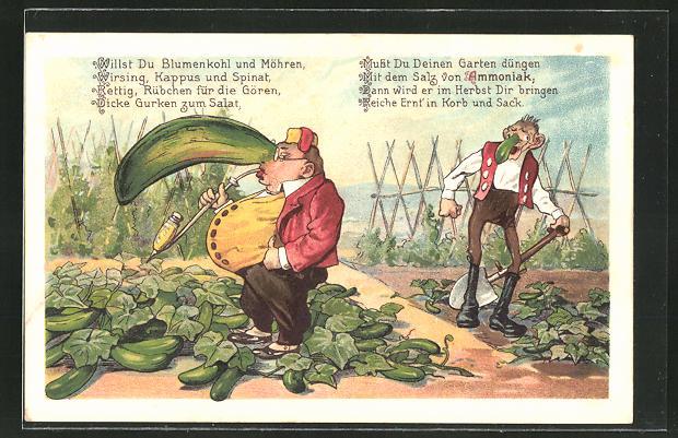 AK Reklame für Ammoniak als Pflanzendünger, Bauern mit grosser und kleiner Gurkennase