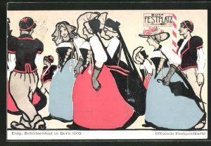 AK Bern, Eidg. Schützenfest 1910, Damen und Herren auf dem Weg zum Festplatz