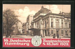 AK Hamburg, 16. deutsches Bundesschiessen 1909, Ortsansicht mit Hotel und Deutsches Schauspielhaus