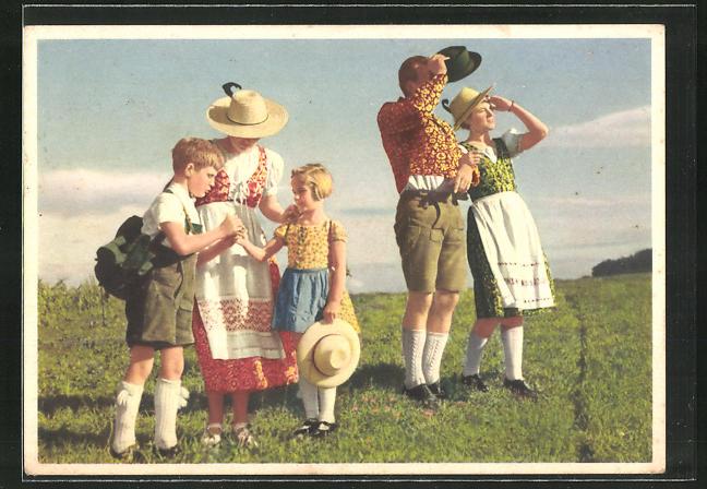 AK Reklame für indanthrenfarbige Kleidung, Familie in bayerischer Tracht