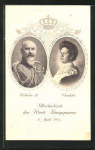 Präge-AK Wilhelm II. und Charlotte von Württemberg zur Silberhochzeit 1911