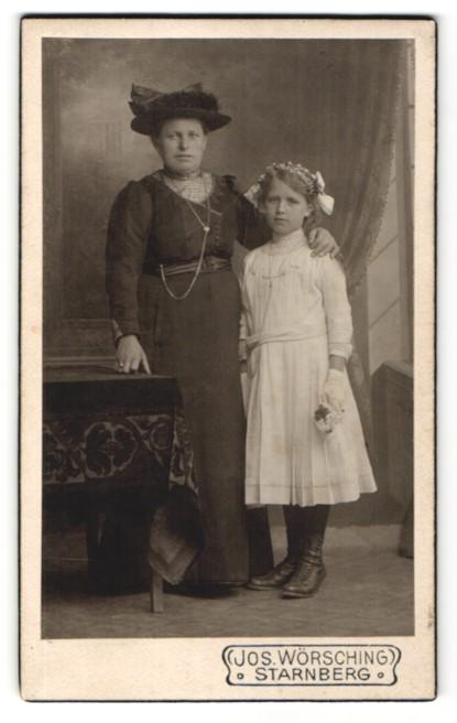 Fotografie Jos. Wörsching, Starnberg, Portrait Mutter mit Hut und Mädchen im weissen Kleid