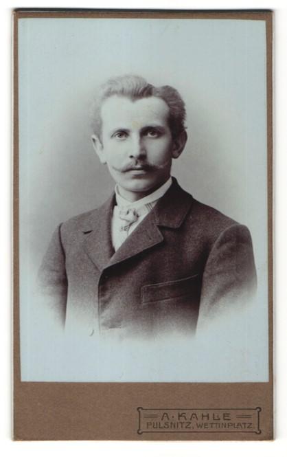Fotografie A. Kahle, Pulsnitz, Portrait Mann mit Zwirbelbart und karierter Krawatte im Anzug
