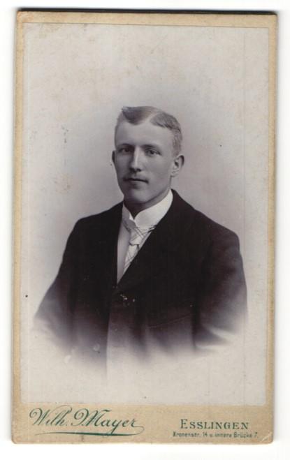 Fotografie Wilh. Mayer, Esslingen, Portrait Mann mit karierter Krawatte im anzug