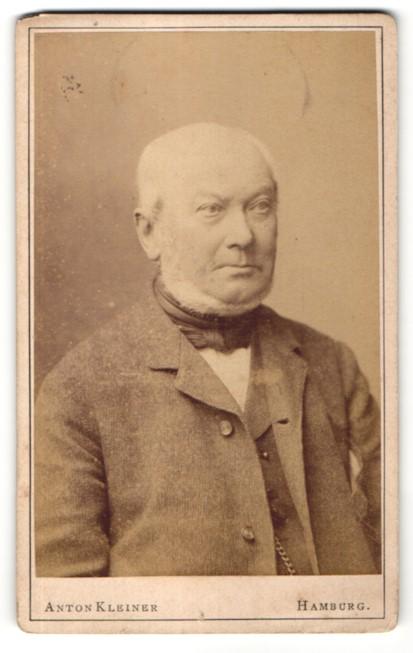 Fotografie Anton Kleiner, Hamburg, Portrait älterer Mann mit Bart und Halstuch im Anzug