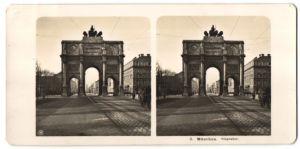 Stereo-Fotografie unbekannter Fotograf, Ansicht München, Siegestor