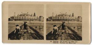 Stereo-Fotografie unbekannter Fotograf, Ansicht Ostende, Kurhaus vom Meere aus