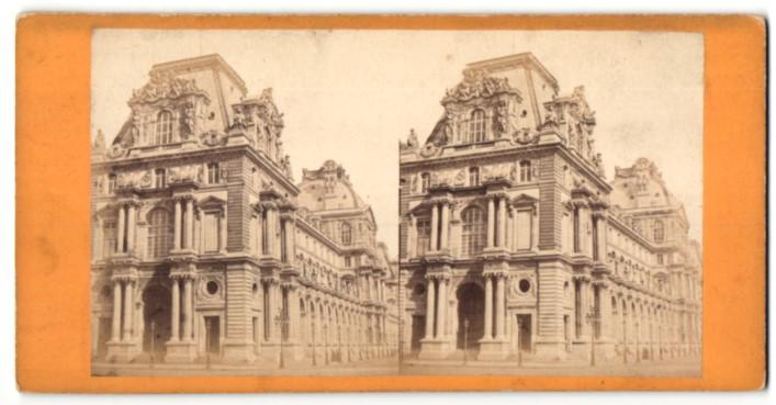 Stereo-Fotografie unbekannter Fotograf, Ansicht Paris, Gebäudeansicht