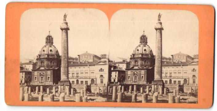Stereo-Fotografie unbekannter Fotograf, Ansicht Rom, Trajanssäule