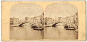 Stereo-Fotografie unbekannter Fotograf, Ansicht Venedig, The Rialto