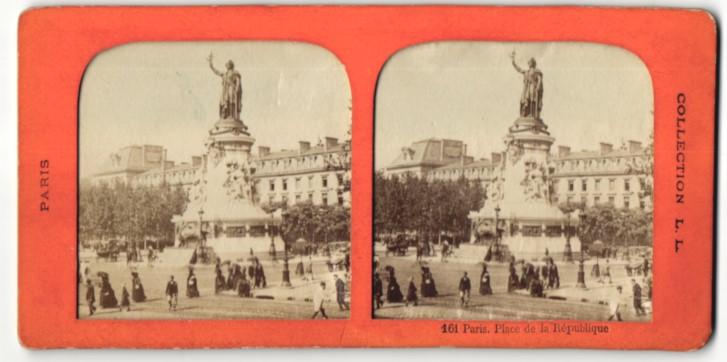 Stereo-Fotografie L. L., Paris, Ansicht Paris, Place de la République, Halt gegen das Licht