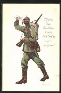 Künstler-AK Jupp Wiertz: Wenn die Soldaten durch die Stadt marschieren