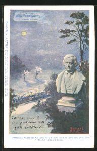 Künstler-AK Philipp + Kramer Nr. XXVII /4: Büste des Komponisten Robert Schumann, mondbeschienene Landschaft