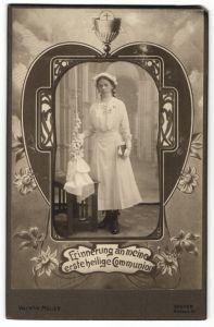 Fotografie Valentin Müller, Speyer, Mädchen im weissen Kleid nach der Kommunion, Fotomontage
