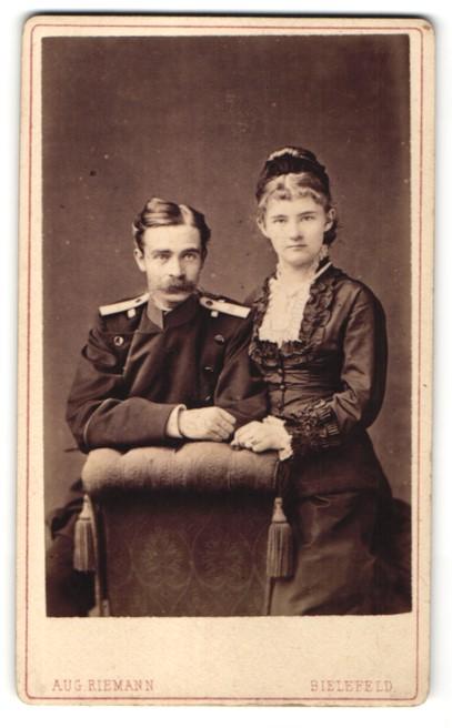 Fotografie Aug. Riemann, Bielefeld, Offizier in Uniform Rgt. 55