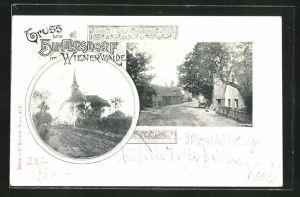 AK Hintersdorf / Wienerwald, Strassenpartie im Ort, Blick zur Kirche