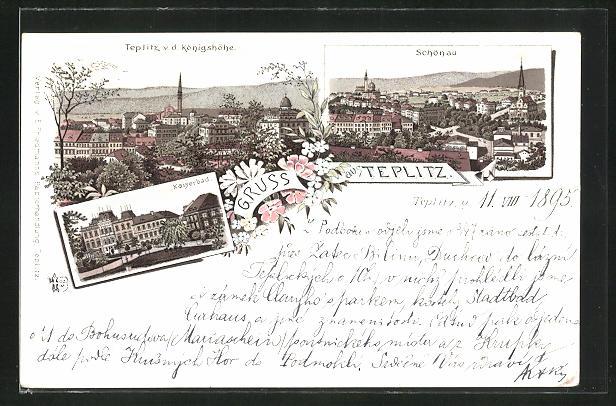 Vorläufer-Lithographie Teplitz Schönau / Teplice, 1895, Kaiserbad, Teplitz von der Königshöhe