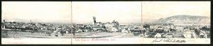 Klapp-AK Klosterneuburg, Panoramablick auf die Stadt und ins Land