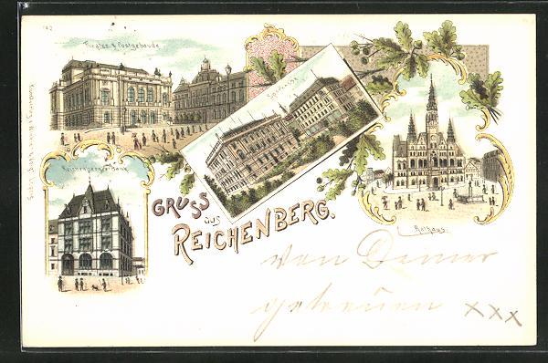Lithographie Reichenberg / Liberec, Theater und Postgebäude, Reichenberger Bank, Rathaus, Sparkasse