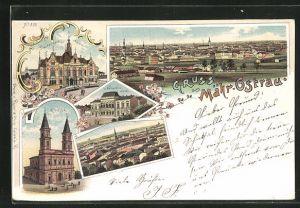 Lithographie Mähr.-Ostrau, Hotel Deutsches Haus, Narodni Dum, Kirche, Ortsansicht