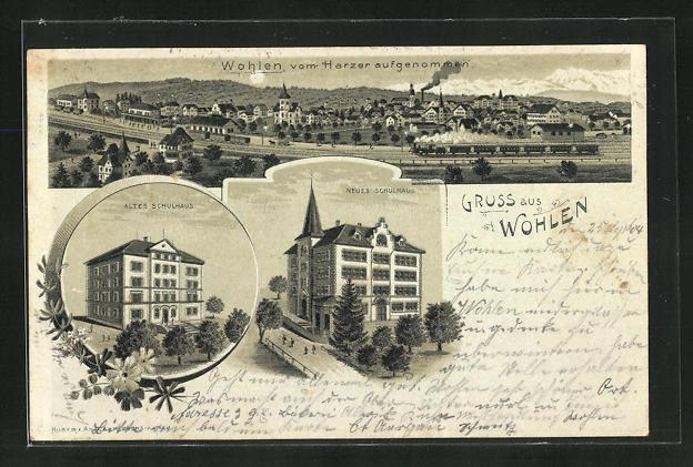 Mondschein-Lithographie Wohlen, Altes und neues Schulhaus, Panorama