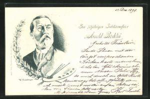 Künstler-AK Arnold Böcklin: Zur 70 Jährigen Jubiläumsfeier, Portrait des Künstlers mit Farbpalette