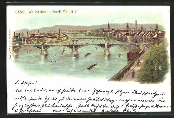 Lithographie Basel, optische Täuschung Wo ist das Leckerli-Maidli?, Panorama mit Brücke