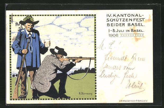 AK Basel, IV. Kantonal-Schützenfest 1906, Schütze mit angelegtem Gewehr beim Zielen
