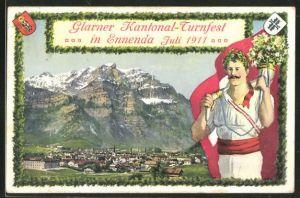 AK Ennenda, Glarner Kantonal-Turnfest 1911, Panorama mit Gebirge, Turner mit Fahne und Horn