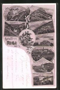 Lithographie Rigi, Klosterli, Rigi-Kulm, Kaltbad, Scheidegg
