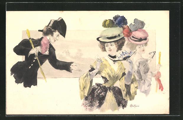 Künstler-AK E. Bottaro: Damen mit Hüten