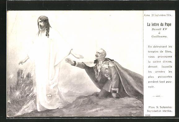 Künstler-AK S. Solomko: Rome, La lettre du Pape Benoit XV a Guillaume 1914, Propaganda Entente