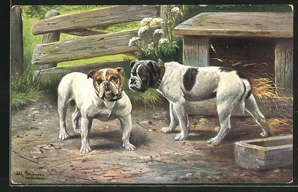 Künstler-AK Alfred Schönian: Zwei Bulldoggen auf einem Bauernhof