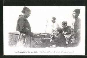 AK Casablanca, Une mitrailleuse en battterie, arabischer Soldat