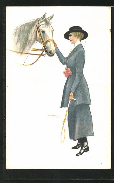 Künstler-AK Bianchi: Frau mit Pferd