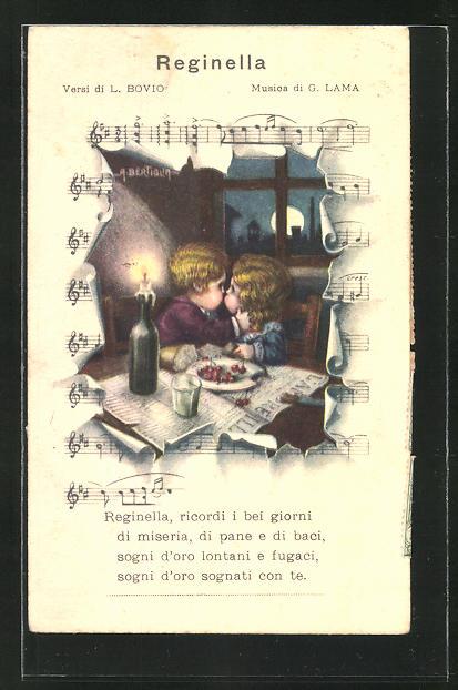 Künstler-AK A. Bertiglia: Mädchen und Junge küssen sich am Tisch, Lied Reginella