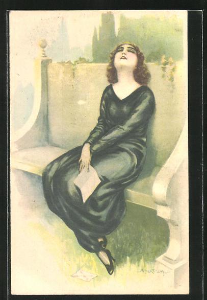 Künstler-AK A. Bertiglia: Frau auf einer Bank