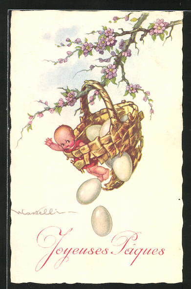 Künstler-AK Castelli: Körbchen mit Puppe und Eiern am Baum, Ostergruss