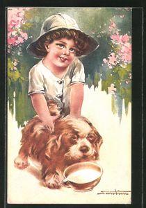Künstler-AK M. Santino: Kind mit seinem Hund