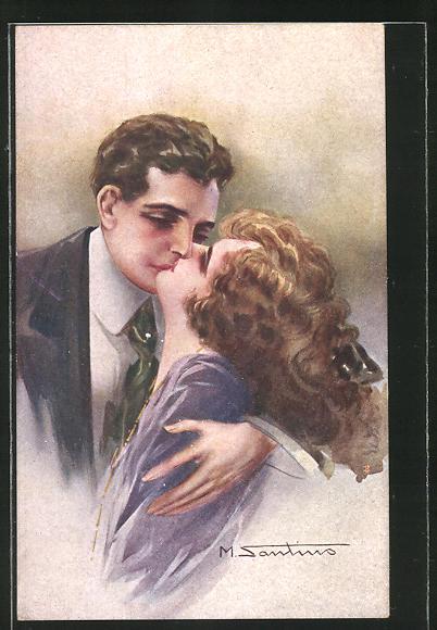 Künstler-AK M. Santino: Paar küsst sich