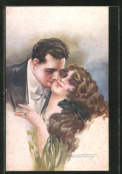 Künstler-AK M. Santino: Mann küsst seine Frau