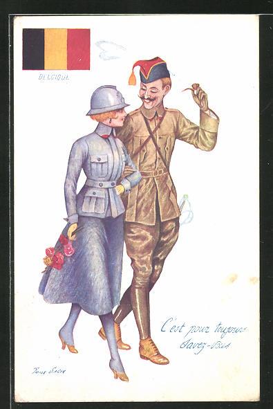 Künstler-AK Xavier Sager: Soldat in Uniform mit Dame, Belgische Flagge