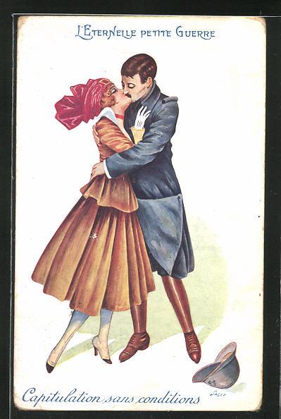 Künstler-AK Xavier Sager: Soldat küsst seine Frau