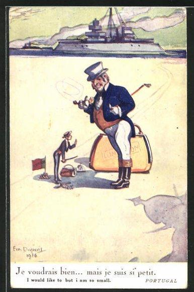 Künstler-AK Em. Dupuis: Portugal, Mann mit Hut und Koffer London, Männlein mit Flagge von Portugal
