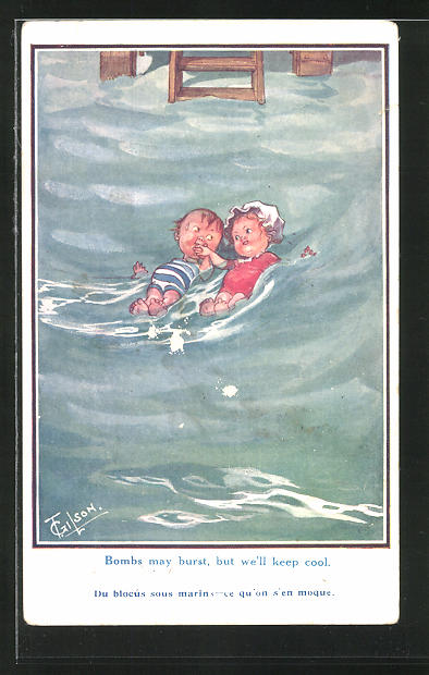 Künstler-AK T. Gilson: Mädchen und Junge im Wasser