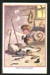 Künstler-AK T. Gilson: Junge mit Soldatenmütze putzt seine Schuhe