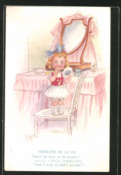 Künstler-AK T. Gilson: Mädchen auf einem Stuhl vor dem Schminktisch